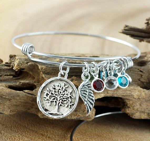 Family Tree Bracelet, Silver Tree of Life Bracelet, Silver Tree Bangle, Birthstone Charm Bracelet, Tree of Life Bangle, Angel wing Bracelet