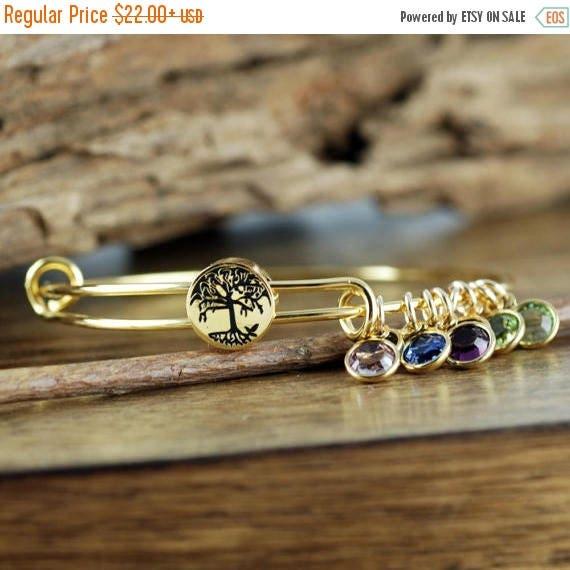 15% OFF SALE Gold Family Tree Bangle  Bracelet, Family Tree Jewelry, Birthstone Bracelet, Stainless Steel Bangle,Tree of Life Bracelet, GIft