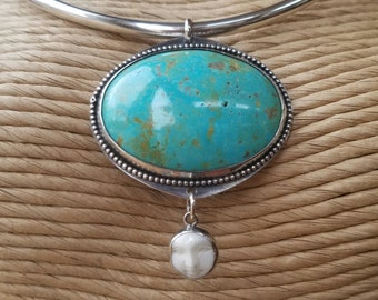 Turquoise Earth and Moon Sterling Pendant