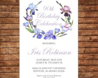 Girl Wedding Bridal Bride Tea Shower Birthday Party Iris Purple Wreath Floral Watercolor Invitation - DIGITAL FILE