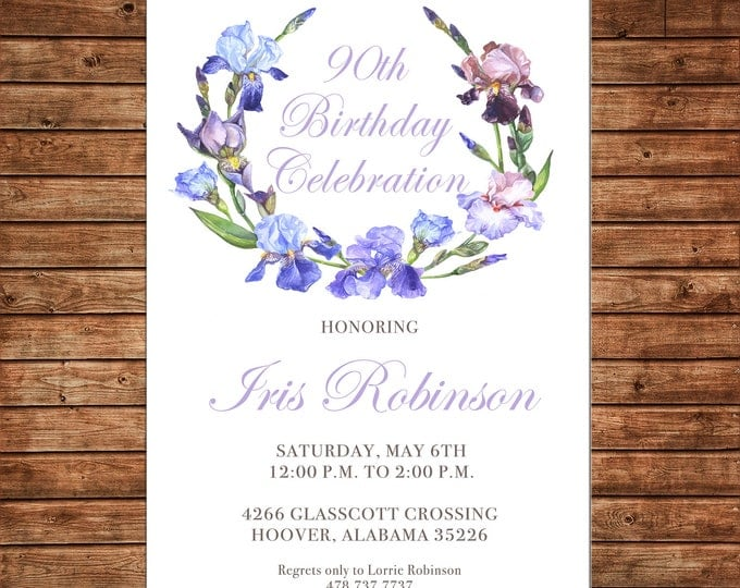 Girl Wedding Bridal Bride Tea Shower Birthday Party Iris Purple Wreath Floral Watercolor Invitation - DIGITAL FILE