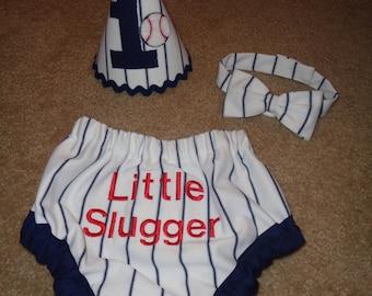 Baseball Themed Cake Smash Bloomers, Tie, and Birthday Hat Set