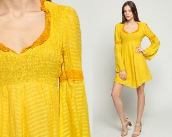 Babydoll Dress 70s Puff Sleeve Mini Yellow Smocked Boho Empire Waist Mod Lace 1970s BOHEMIAN Hippie Vintage Minidress Stripe Small Medium