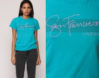 California Tshirt San Francisco Shirt 80s Graphic Tee Turquoise Blue 1980s Vintage Hipster Retro Extra Small xs