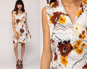 60s Mod Dress Floral Mini Hippie Vintage 70s Boho Sleeveless Minidress High Waisted Sheath Front Zip Bohemian Retro White Brown Medium