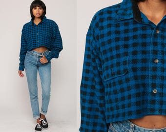 Blue Flannel Shirt Crop Top Plaid Shirt 90s Grunge Long Sleeve Button Up Black 1990s Oversized Lumberjack Vintage Hipster Small Medium