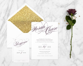 The 'Isabella' Romantic Calligraphy & Lace Wedding Invitation Suite (Sample)