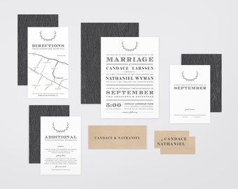 The 'Quinn' Modern Laurel Wreath Wedding Invitation Suite (Printable PDFs)