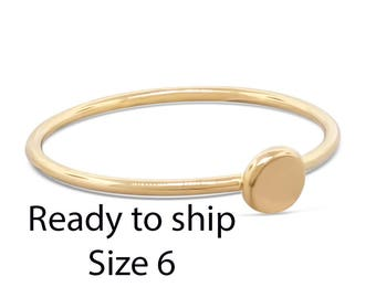 Ready To Ship 14k Gold Engagement Ring • Thin Gold Stack Ring • Stacking Ring • Simple Gold Ring Gift for Her • Minimalist Ring