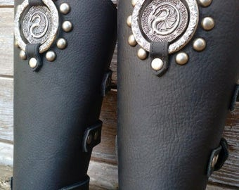 Oiled Black Bracer Pair Armor Ren Faire SCA w Dragon concho, Spots and Incised Antiqued Silver Ring