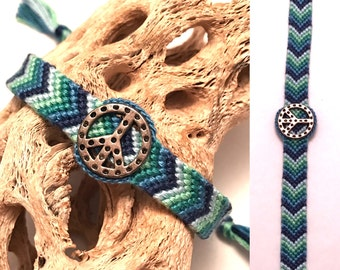 Friendship bracelet - peace sign - arrowhead - chevron - braided - macrame - woven - green - blue - charm - embroidery floss - string