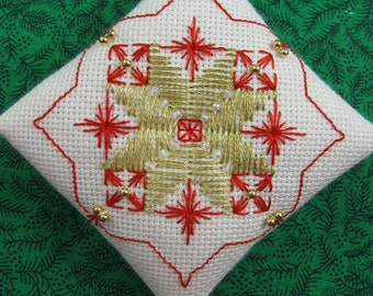 Beaded Embroidery Christmas Ornament 205