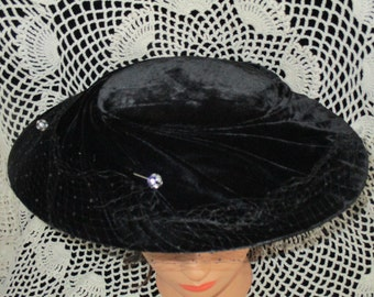 1950's Woman's Black Velvet Hat with Two Rhinestone Hat Pins and Netting By SUNNYLAND