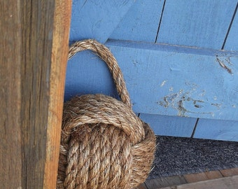 1 Nautical Rope Doorstop - Nautical Doorstop - Brown Doorstop - Manila Rope - Monkey Fist Doorstop - Beach Decor - Rope Knot