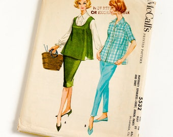 Vintage 1960s Womens Maternity Size 10 Separates- Skirt Jerkin Pants and Shirt McCalls Sewing Pattern 5532 Complete / bust 31