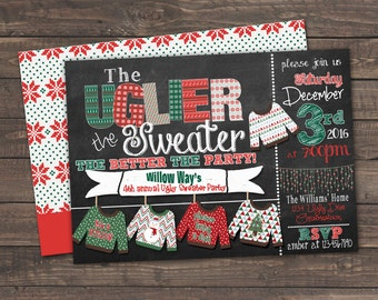 Chalkboard Ugly Sweater Christmas Party Invitation with BONUS double side design - Print Your Own