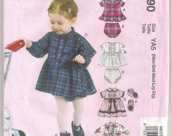 Infants Pattern McCalls 6590 Dress and Panties Shoe Pattern Diaper Cover Baby Girl Baby Shower Gift NB SM MD Lg XLg Uncut
