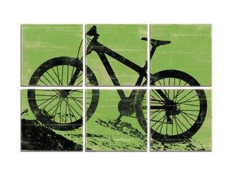 Kids Room Decor - Large Mountain Bike Print - Bicycle Wall Art Print Decor for Boys Room