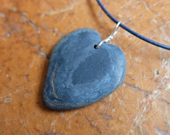 Blue River stone heart pendant necklace - handmade in Australia by NaturesArtMelbourne - natural heart stone jewellery