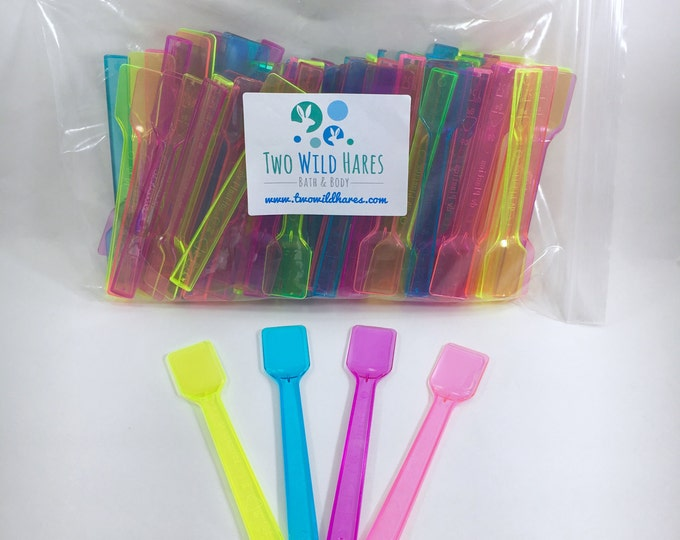 100- MINI SPATULAS, Multicolor, FREE Us Ship, for Sugar Scrub, Body Butter, Body Frosting & Testers, 4 Color Assortment