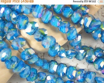 SALE 8 Polygon Crystal AB Beads Aquamarine, Yellow & White Swirled Faceted 13 x10 mm Beads (C227 -8)