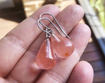 Pink Blossom Gemstone Stainless Steel Silver Earrings