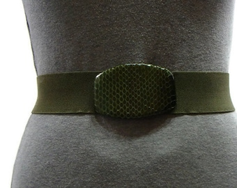 Vintage Dark Green Snake Skin Buckle Stretch Belt Elastic Belts For Women Stretch Belts For Women Snakeskin Belt Buckle