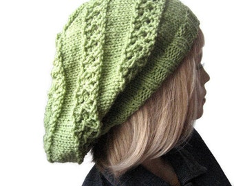 Hand Knit Hat, The Stacey Hat, Striped Lace Slouchy Hat, Vegan Knits, Womens Hat, Knit Slouchy Beanie