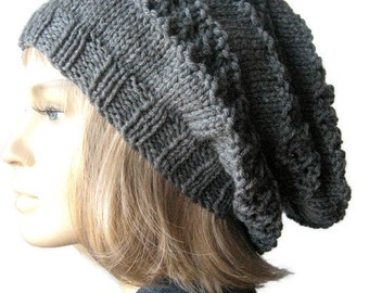 Lace Striped Slouchy Hat, Vegan Knit Hat, The Stacey Hat, Womens Accessories, Knitted Hat, Fashion Knit Tam, Knit Accessories
