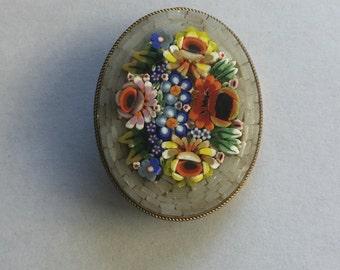 Vintage Italian Floral Mosaic pin