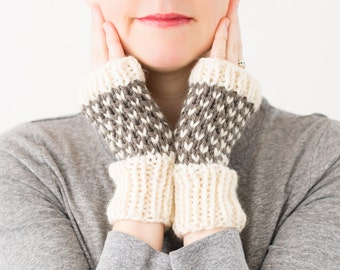 Fingerless Mittens, Knitted Wool Fair Isle Gloves - READY TO SHIP - Wintergreen Mittens (Dusty Olive)