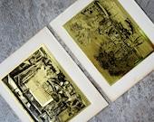 Vintage Lionel Barrymore Gold Foil Etch Prints Old Red Bank Old Boat Works Set of Two