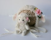 RESERVED FOR KYLEIGH...Lamb Bonnet and Lamb Stuffy Set Newborn Photography Prop