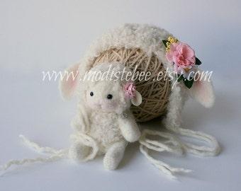Lamb Bonnet and Lamb Stuffy Set Newborn Photography Prop