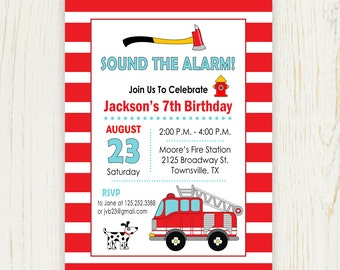 Fire Truck Party Invitation - digital