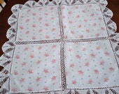 Vintage Dining Table Linens Hand Crochet Floral Table Cloth Topper 1950's