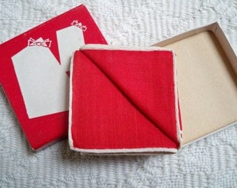Vintage Accessory Pettifold Red Handkerchief in Box Ting Boxed Handkerchief Kimball Lipstick Wisper