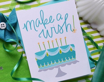 Make A Wish Birthday Card, Happy Birthday to you, Birthday Card, Stationery, Girl, Illustration, Notecard, Greeting Card, Birthday Cake Card