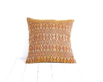 Indonesian Ikat, Pillow, Cushion, Hand Woven, Hand Dyed, 16 x 16, Yellow, Brown