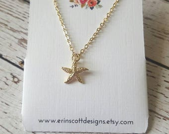 Gold Starfish Charm Pendant Necklace, Great Teacher Gift