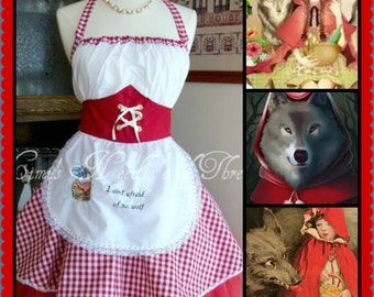Sexy Little  Red Riding Hood Handmade Apron...made to order