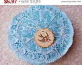 "SALE Paper Lace Doilies Hand Dyed Blue 5"" Shabby Chic Rustic Wedding Set of 25"