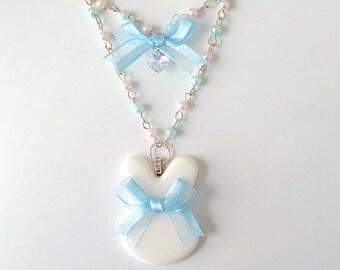 Milky White Glitter Bunny Resin Ribbon Pearl Necklace