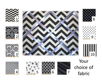 Black and White French Memo Board  with Ribbon -  Bulletin Board - Your choice of size, fabric and  ribbon colors - FREE DOMESTIC SHIPPING