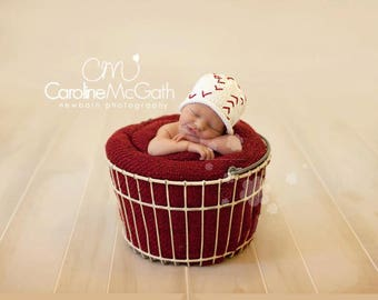 READY TO SHIP Knit Baseball Hat, Cotton Baby Hat great photo prop