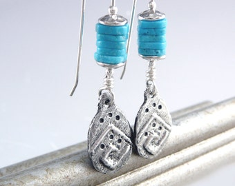 Turquoise Drop Earrings, Nickel Free Earrings, Southwest Jewelry, Cool Earrings, Nickel Free Jewelry, Trendy Earrings, Smart Jewelry