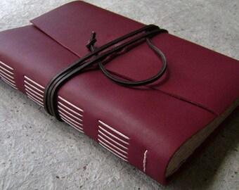 "Handmade leather Journal, 6""x 9"", deep red journal, vintage style leather diary, travel journal, leather sketchbook,  (2494)"