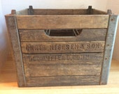 Vintage 1958 Wooden Milk Bottle Crate #E