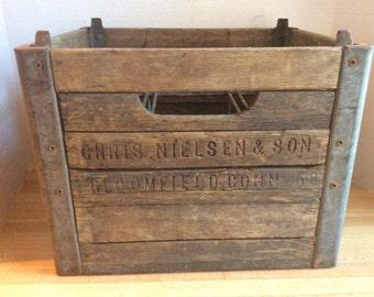 Vintage 1958 Wooden Milk Bottle Crate #E