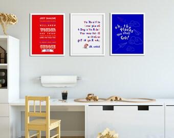 "Dr. Seuss set of 3 - 8""x10"" wall art quote prints"